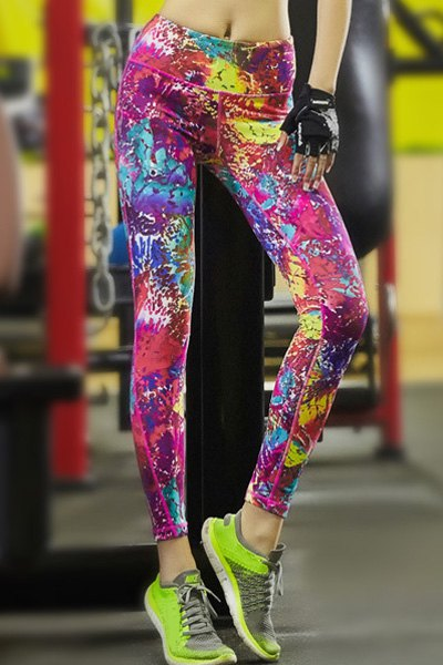 Fitted Splatter Paint High Waist Yoga Pants от Zaful.com INT