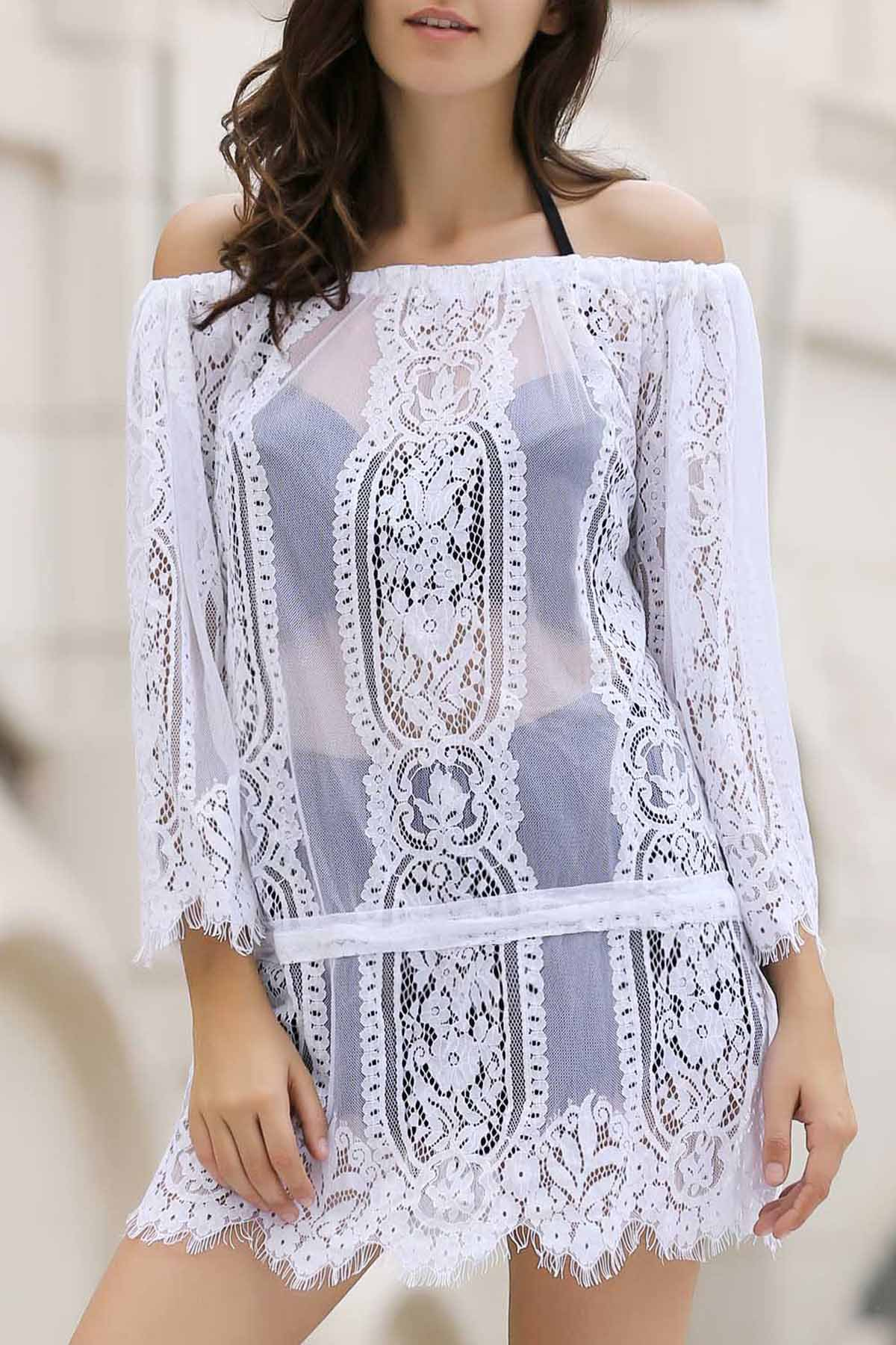 Off The Shoulder Long Sleeve White Lace Cover Up