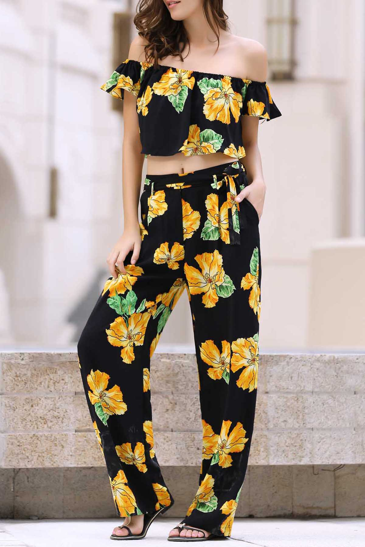 Cold Shoulder Ruffle Crop Top and Printed Palazzo Pants Women's Twinset