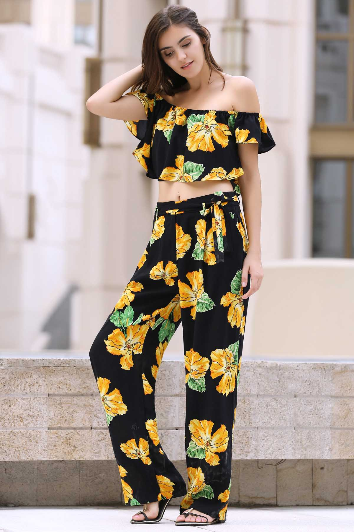 off the shoulder top and print palazzo pants