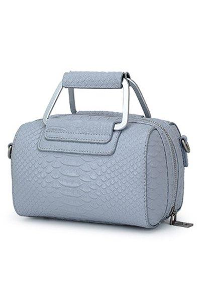 Solid Color Crocodile Print Tote Bag - BLUE