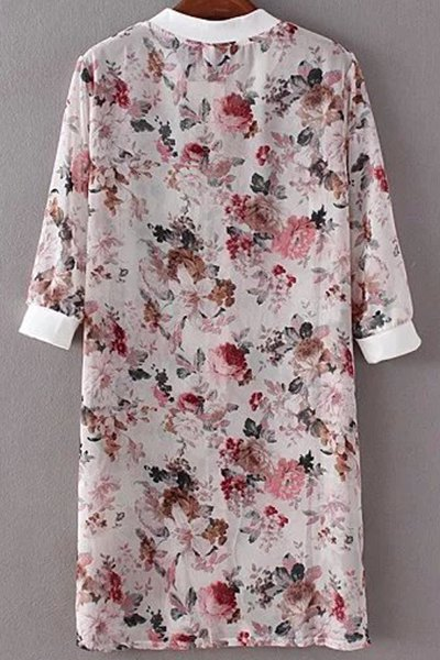 Floral Print Stand Neck 3/4 Sleeve Chiffon Shirt - WHITE ONE SIZE(FIT SIZE XS TO M)