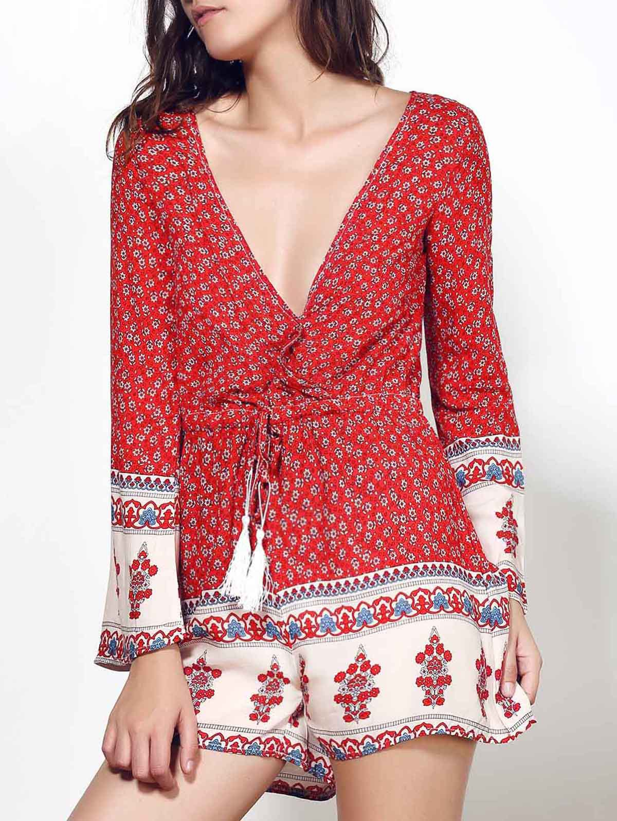 Plunging Neck Long Sleeve Red Print Romper
