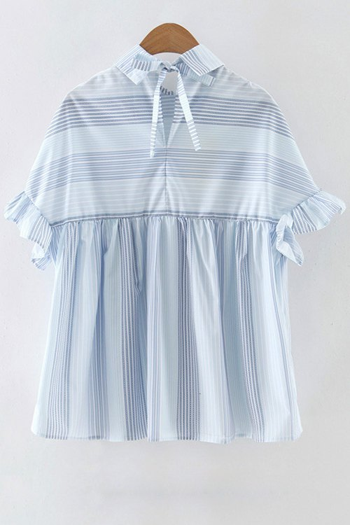 Striped Flat Collar Butterfly Sleeve Blouse - LIGHT BLUE M
