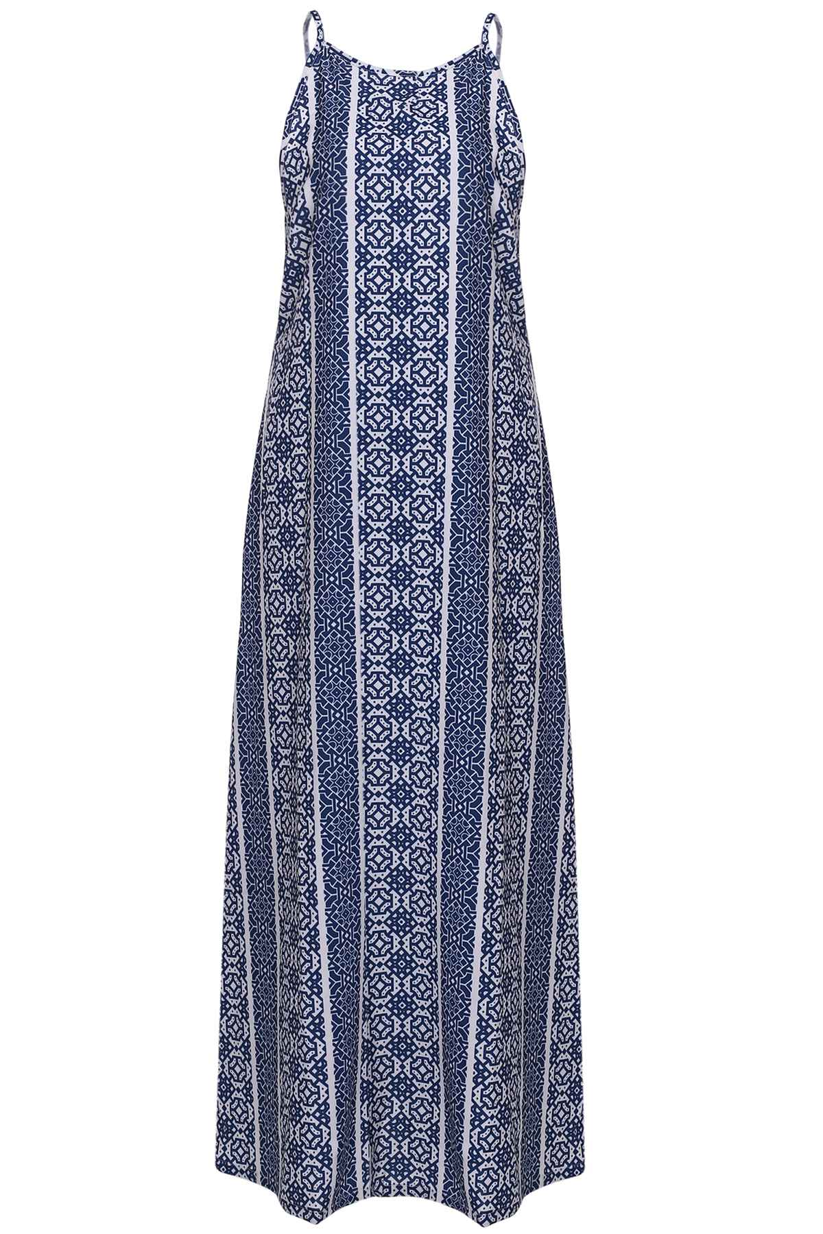 Spaghetti Strap Sleeveless Print Maxi Dress - BLUE/WHITE S