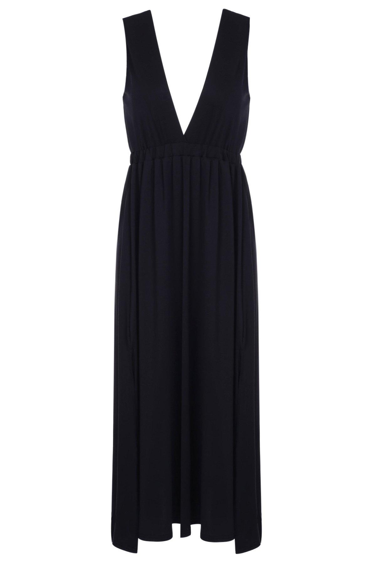 Plunging Neck Black Backless Sleeveless Dress