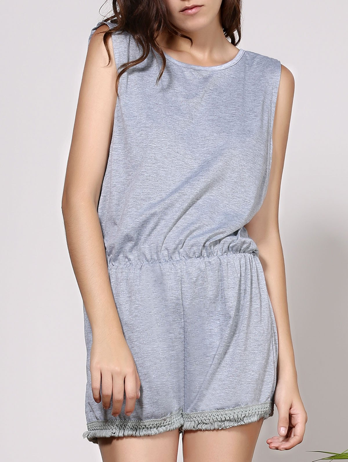Tassels Sleeveless Backless Romper