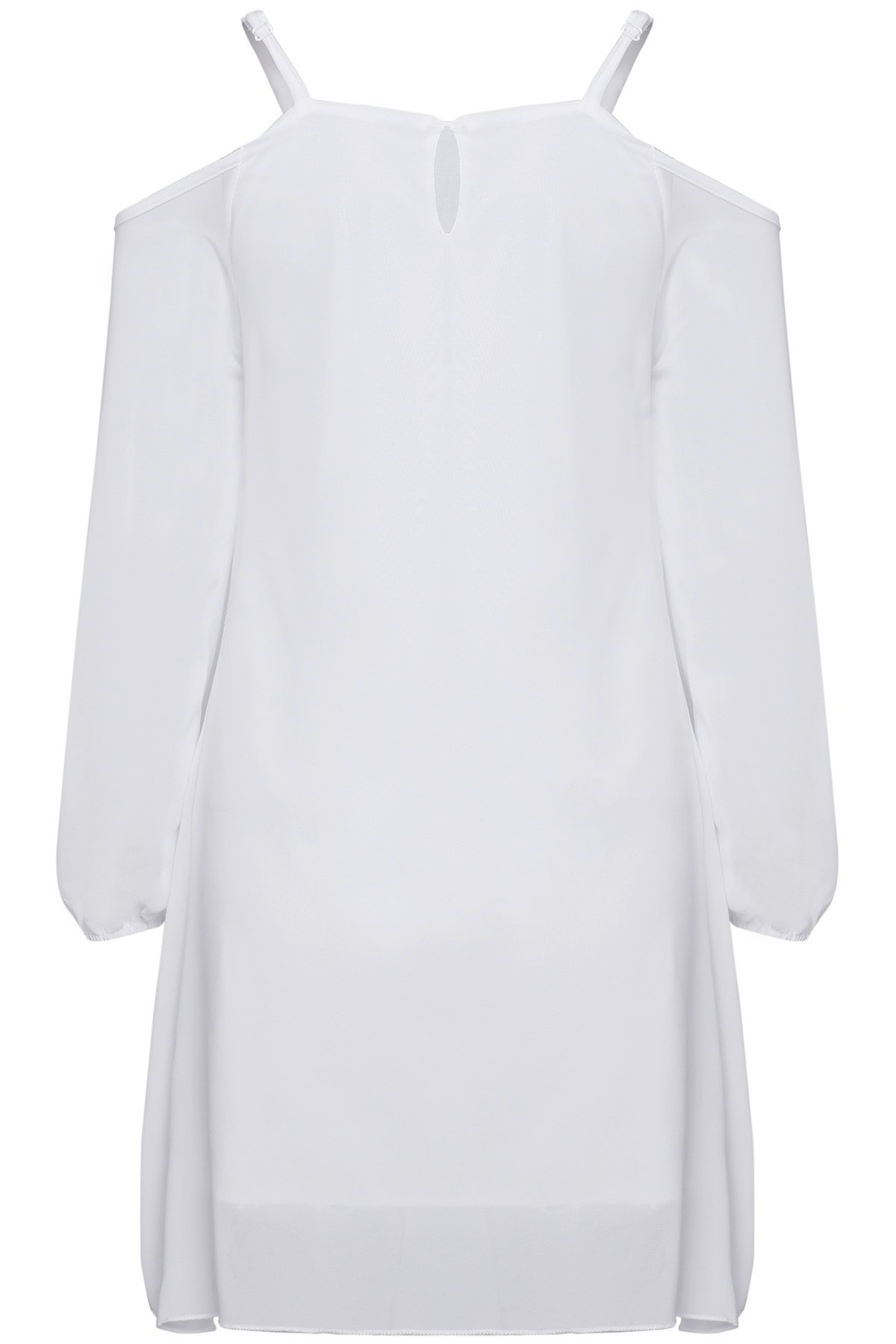 Long Sleeve Irregular Hem White Dress - WHITE S