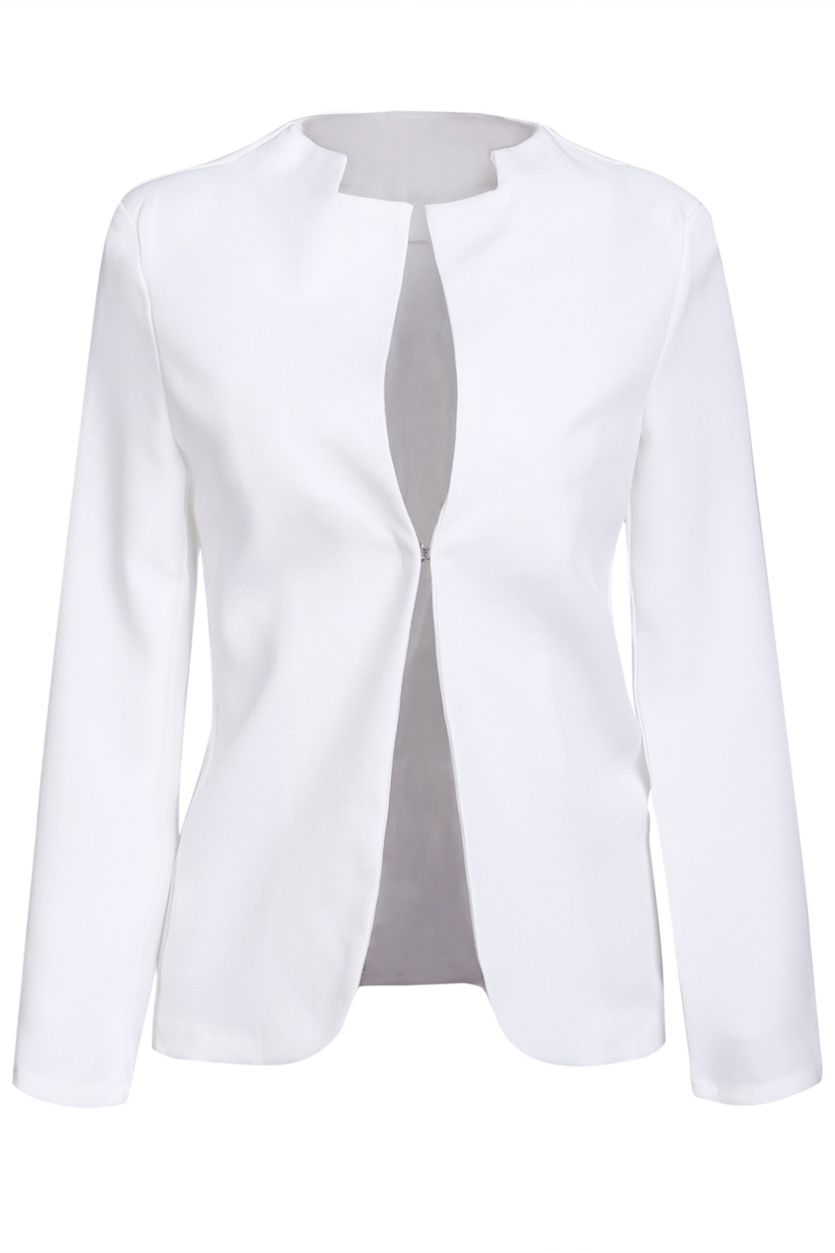 V Neck Solid Color Long Sleeve Blazer
