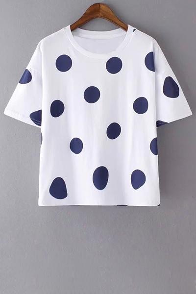 Round Neck Short Sleeves Polka Dot T-Shirt