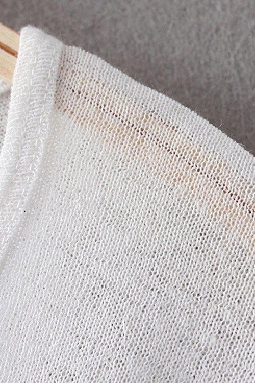 Scoop Neck Solid Color T-Shirt - BLACK M