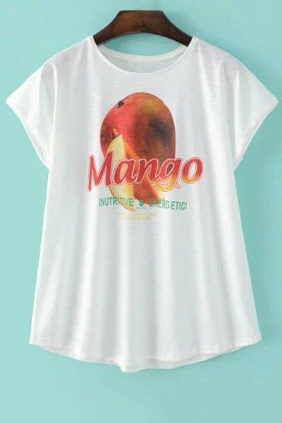 Mango Print White T-Shirt
