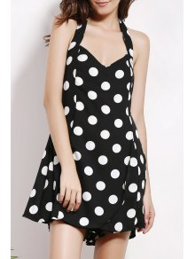 Backless Polka Dot Halter Sleeveless Playsuit
