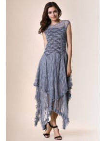 Irregular Hem Lace Prom Dress