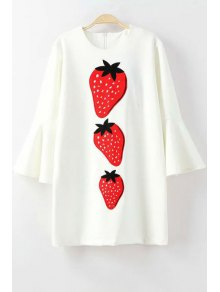 Bell Sleeve Strawberry Appliqued Dress - WHITE L