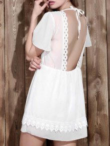 V Neck Backless Lace Insert Dress