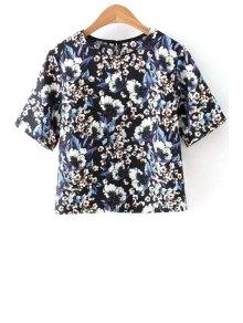 Half Sleeve Tiny Flower Print Round Neck T-Shirt