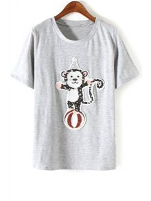 Monkey Sequined Round Neck Short Sleeve T-Shirt