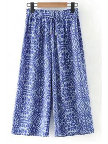 Printed Elastic Waist Wide Leg Pants - Blue L