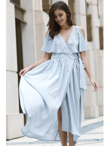 High Slit Flounce Ruffles Plunging Neck Sleeveless Dress