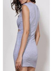 Waist Tie Knot Openwork Sleeveless Dress