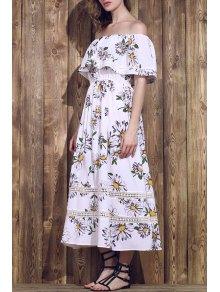 Flower Print Waisted Convertible Dress - White S