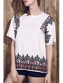 Retro Embroidered Jewel Neck Short Sleeve T-Shirt