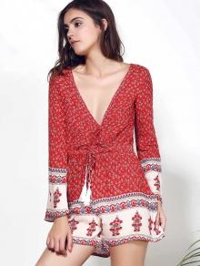 Long Sleeve Red Print Romper - WINE RED S