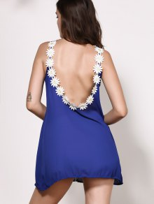 Floral Splicing Jewel Neck Backless Sleeveless Dress