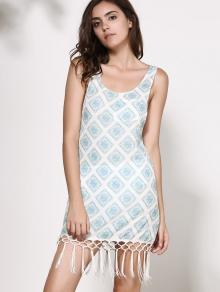 Scoop Neck Plaid Tassel Splicing Dress