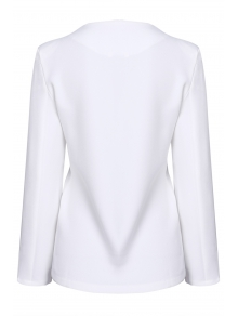 V Neck Solid Color Long Sleeve Blazer - WHITE S