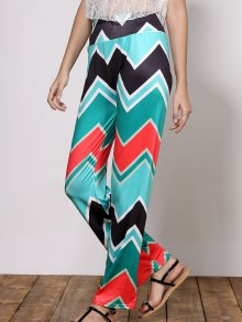 Stylish Mid-Waisted Wave Print Loose-Fitting Women's Exumas Pants - Green M