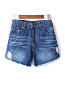 Blue Denim High Neck Frayed Shorts