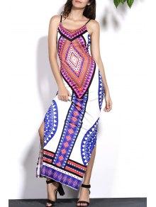 Geometric Print Cami Backless Maxi Dress - L