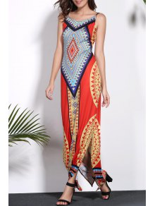 Geometric Print Spaghetti Strap Backless Maxi Dress