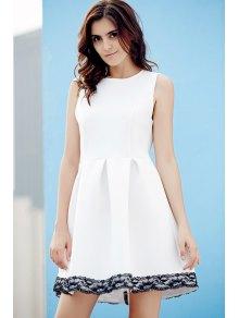 Lace Splice Round Neck Sleeveless Flare Dress - WHITE M