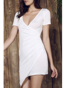 Plunging Collar Solid Color Bodycon Dress - WHITE S
