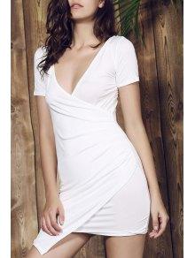 Plunging Collar Asymmetrical Bodycon Dress - White L