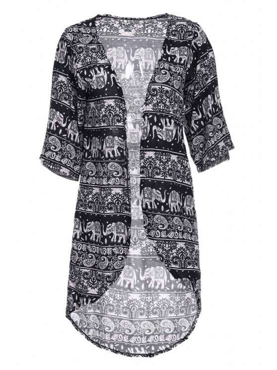 ladies Colllarless Ethnic Pattern Print Blouse - BLUE AND WHITE S