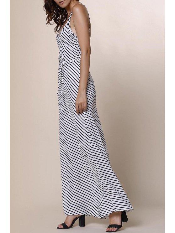 Striped Spaghetti Strap Backless Maxi Dress - STRIPE S Mobile