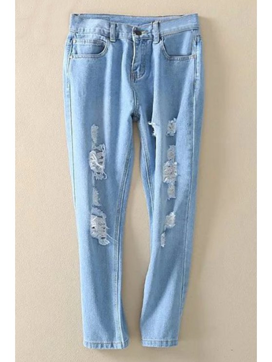affordable Bleach Wash Distressed Ninth Jeans - LIGHT BLUE L