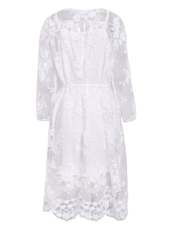 Solid Color Lace See-Through Long Sleeve Dress - WHITE S Mobile