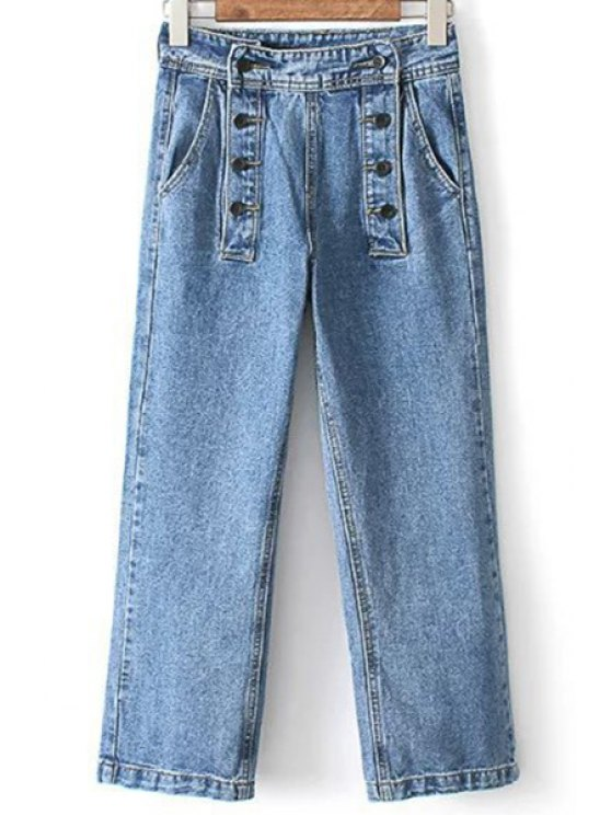 fancy Loose High Waisted Double-Breasted Jeans - LIGHT BLUE M