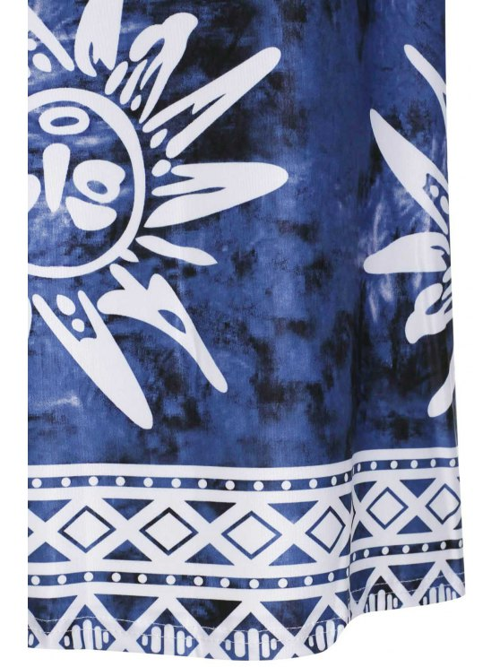 Spaghetti Strap Argyle Sun Print Dress - BLUE M Mobile
