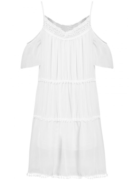 women White With Lace Off The Shoulder Dress - WHITE M