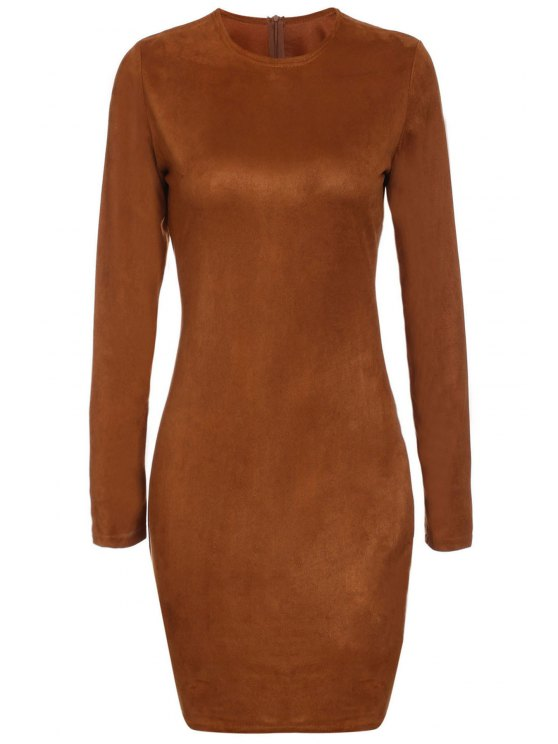 Long Sleeve Brown Suede Dress BROWN: Bodycon Dresses  ZAFUL