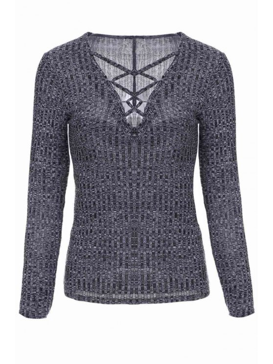 lady Gray Plunging Neck Long Sleeve Jumper - GRAY M