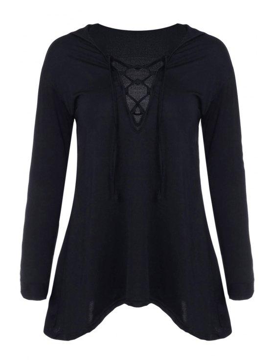 latest Hooded Irregular Hem Black T-Shirt - BLACK S