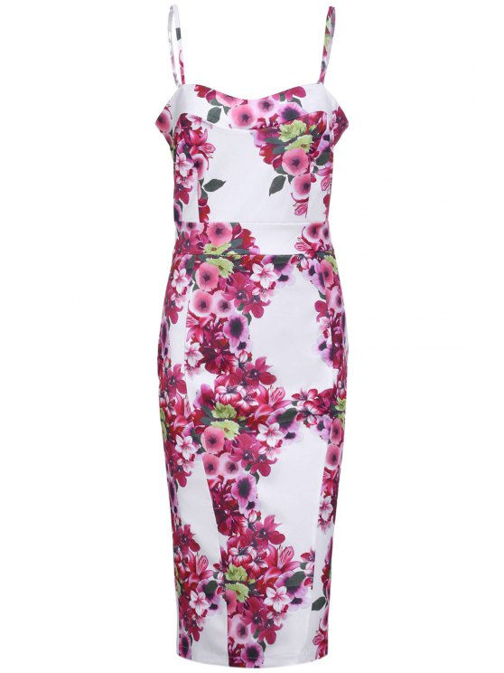 latest Full Floral Cami Bodycon Dress - ROSE S