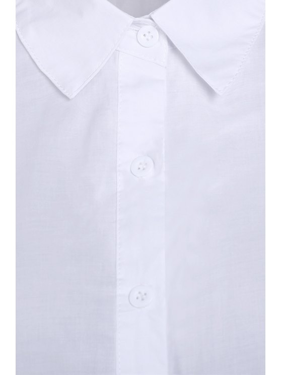 Pure Color Turn Down Collar Long Sleeves Shirt - WHITE M Mobile